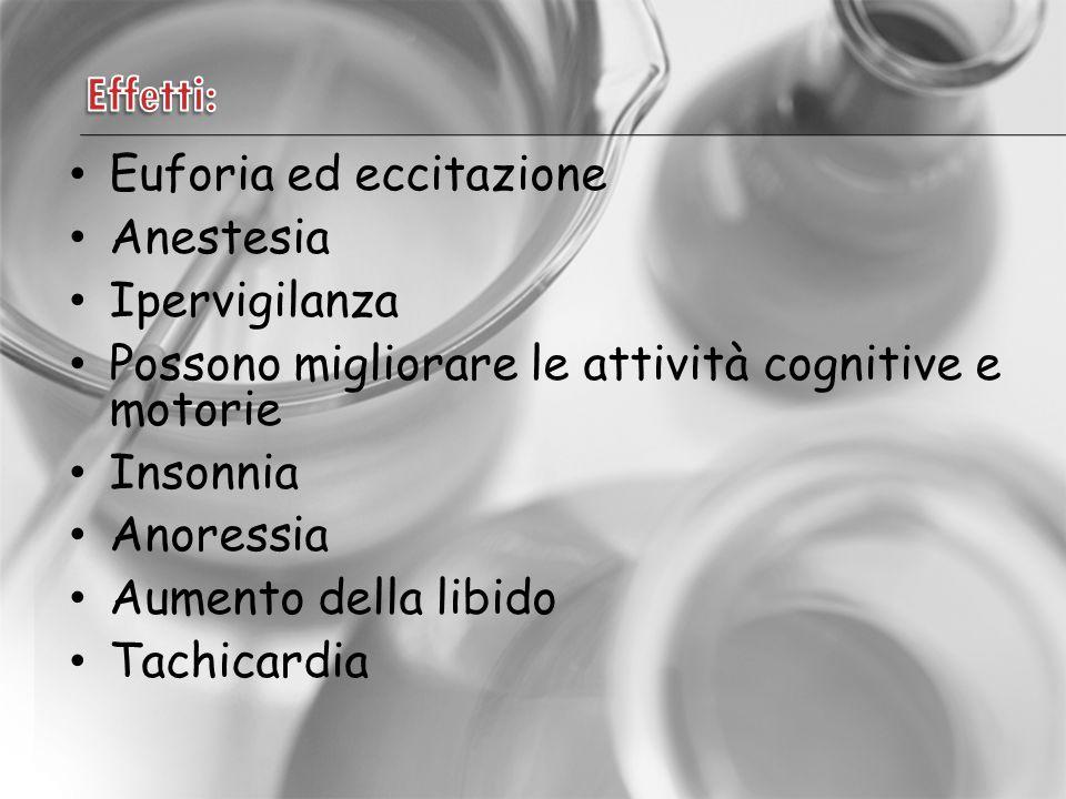 Euforia ed eccitazione Anestesia Ipervigilanza Possono migliorare le attività cognitive e motorie Insonnia Anoressia Aumento della libido Tachicardia