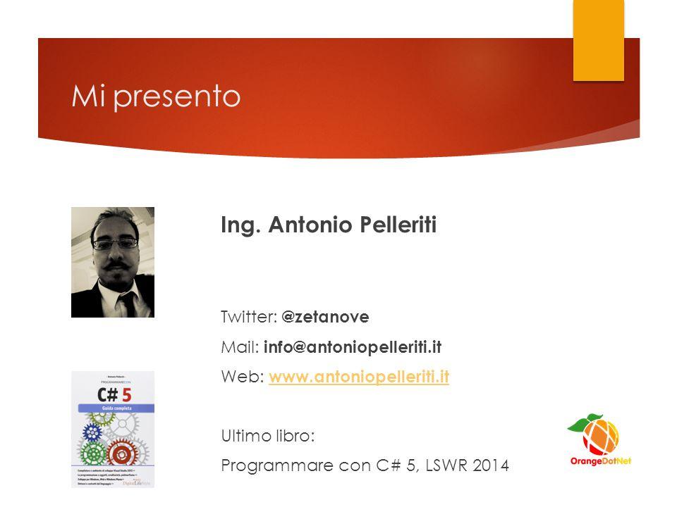 Mi presento Ing. Antonio Pelleriti Twitter: @zetanove Mail: info@antoniopelleriti.it Web: www.antoniopelleriti.itwww.antoniopelleriti.it Ultimo libro: