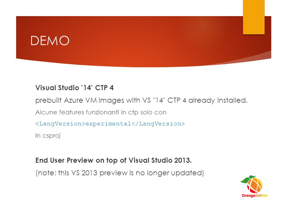DEMO Visual Studio '14' CTP 4 prebuilt Azure VM images with VS