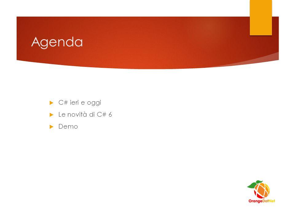 Agenda  C# ieri e oggi  Le novità di C# 6  Demo