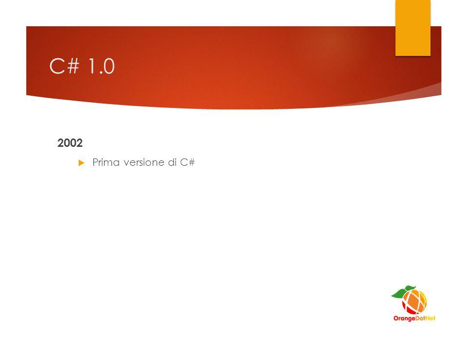 C# 1.0 2002  Prima versione di C#