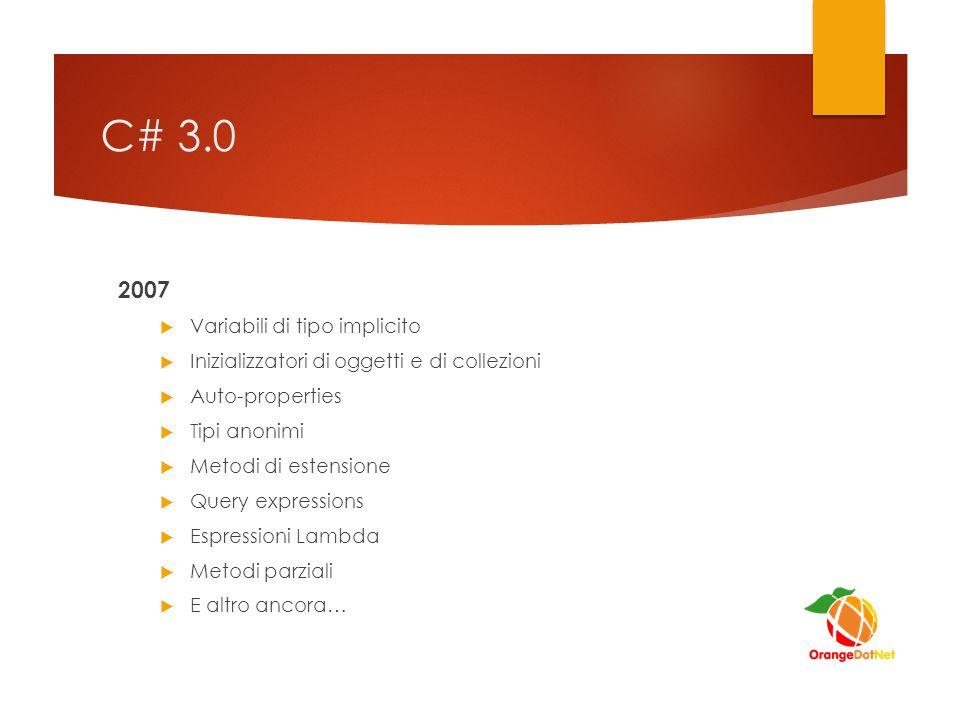 C# 4.0 2010  Dynamic binding  Argomenti denominati e opzionali  Generics co/controvarianza  E altro ancora…