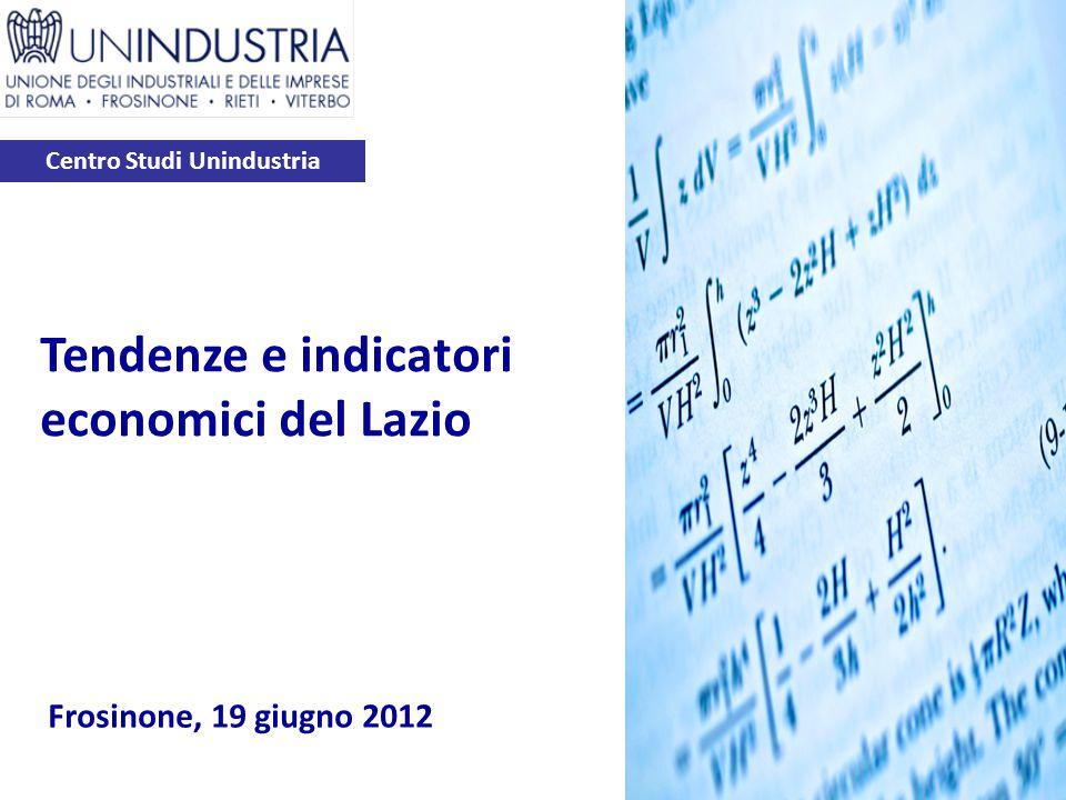 Centro Studi Unindustria Frosinone, 19 giugno 2012 Tendenze e indicatori economici del Lazio