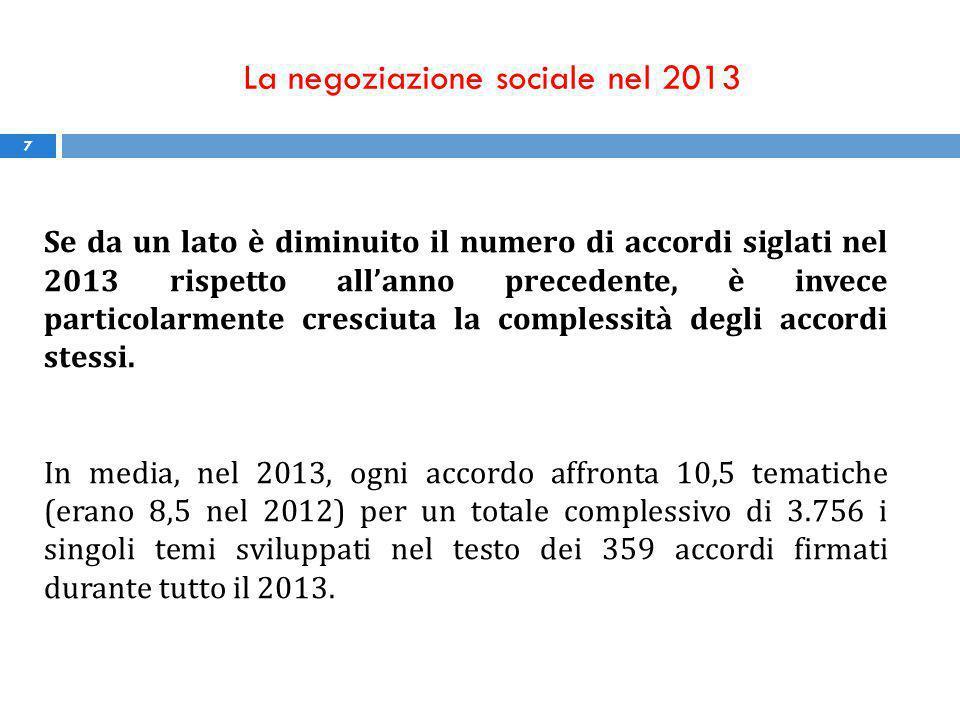 La negoziazione sociale nel 2013 7 Se da un lato è diminuito il numero di accordi siglati nel 2013 rispetto all'anno precedente, è invece particolarmente cresciuta la complessità degli accordi stessi.