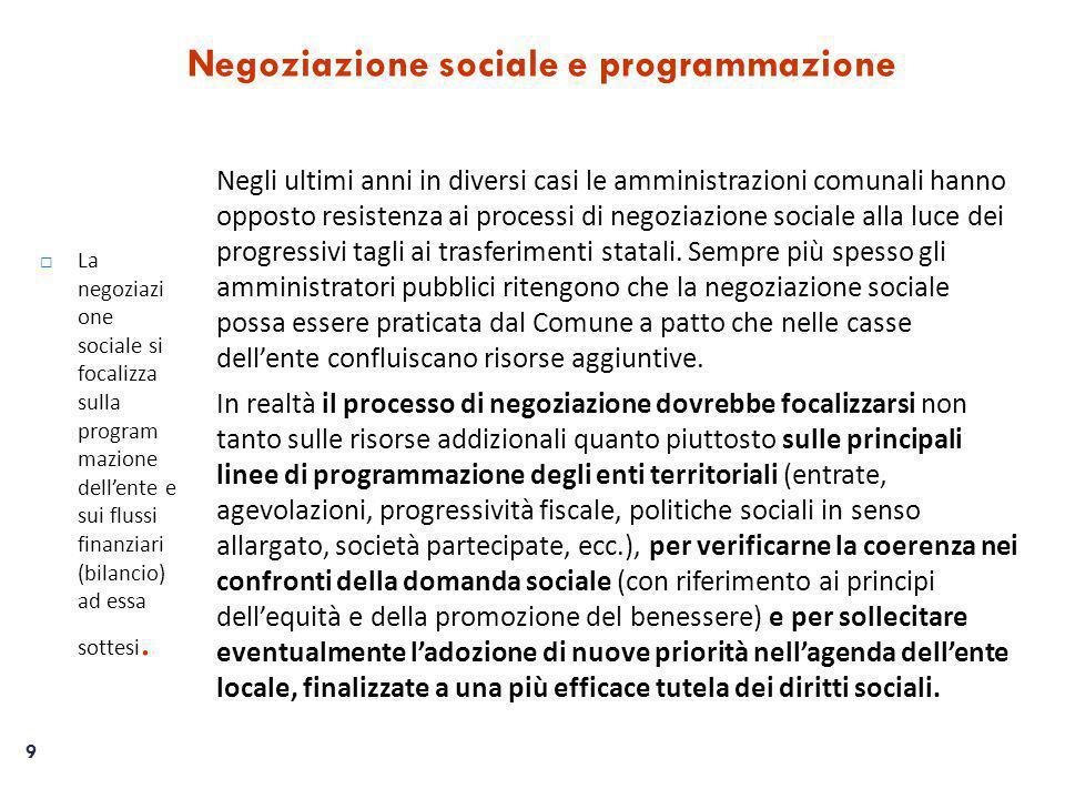9 Negoziazione sociale e programmazione  La negoziazi one sociale si focalizza sulla program mazione dell'ente e sui flussi finanziari (bilancio) ad essa sottesi.