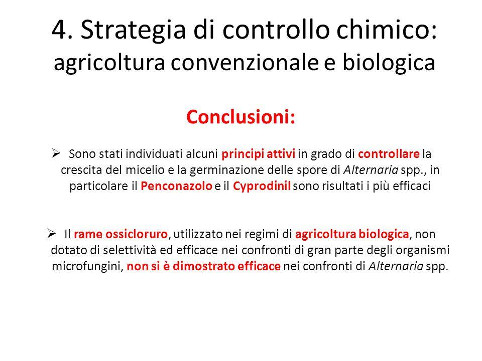 Conclusioni:  Sono stati individuati alcuni principi attivi in grado di controllare la crescita del micelio e la germinazione delle spore di Alternar