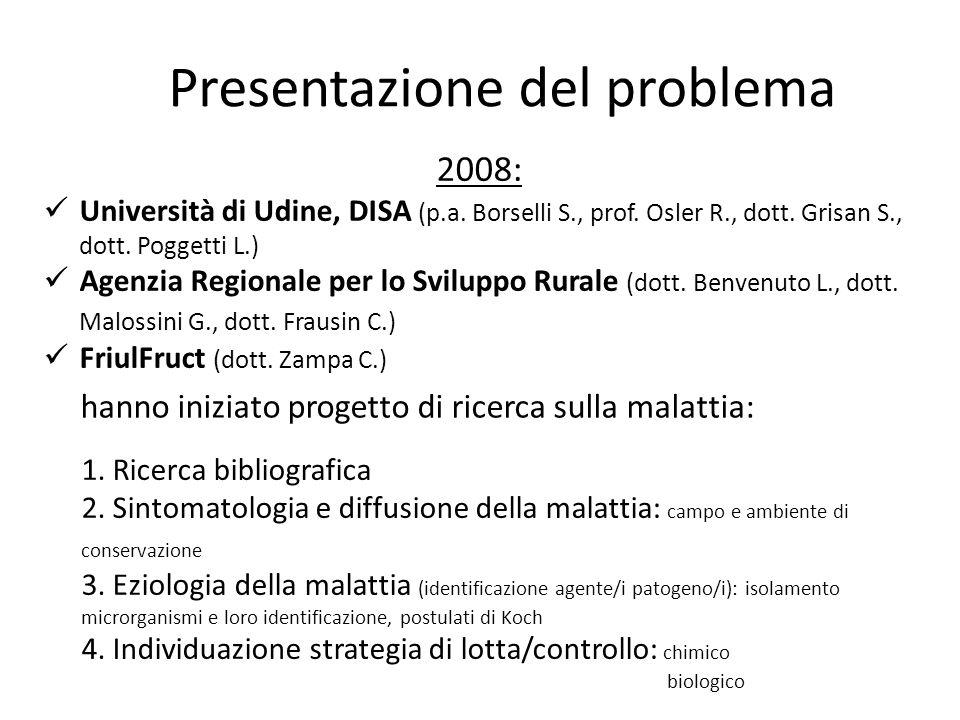 Presentazione del problema 2008: Università di Udine, DISA (p.a. Borselli S., prof. Osler R., dott. Grisan S., dott. Poggetti L.) Agenzia Regionale pe