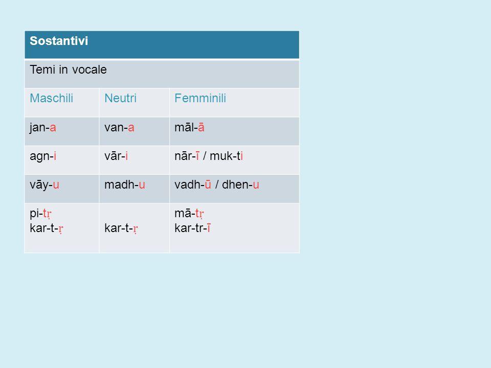 Sostantivi Temi in vocale MaschiliNeutriFemminili jan-avan-amāl-ā agn-ivār-inār-ī / muk-ti vāy-umadh-uvadh-ū / dhen-u pi-t ṛ kar-t- ṛ mā-t ṛ kar-tr-ī