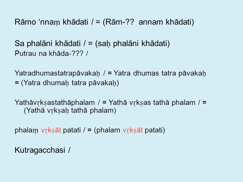Rāmo 'nna ṃ khādati / = (Rām- .