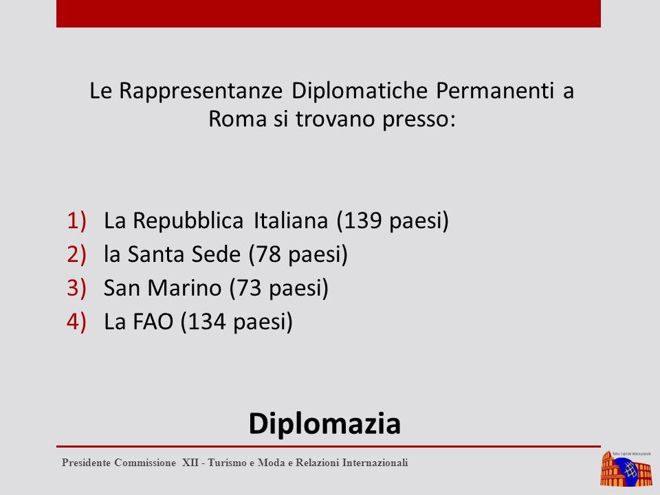 Diplomazia Le Rappresentanze Diplomatiche Permanenti a Roma si trovano presso: 1)La Repubblica Italiana (139 paesi) 2)la Santa Sede (78 paesi) 3)San Marino (73 paesi) 4)La FAO (134 paesi) Presidente Commissione XII - Turismo e Moda e Relazioni Internazionali