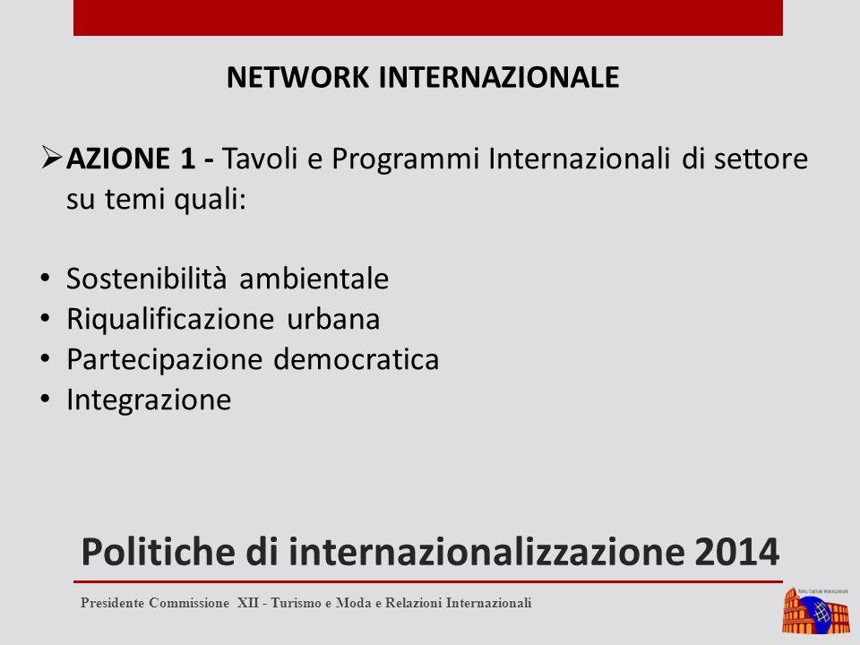 Politiche di internazionalizzazione 2014 NETWORK INTERNAZIONALE  AZIONE 1 - Tavoli e Programmi Internazionali di settore su temi quali: Sostenibilità ambientale Riqualificazione urbana Partecipazione democratica Integrazione Presidente Commissione XII - Turismo e Moda e Relazioni Internazionali