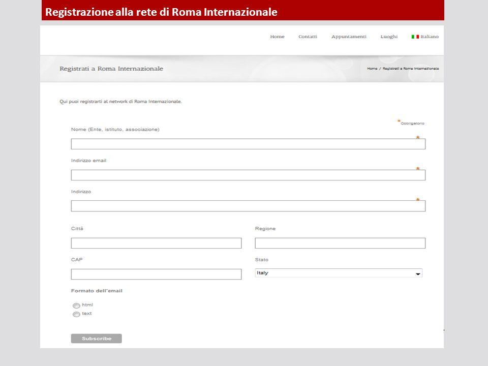 Registrazione alla rete di Roma Internazionale