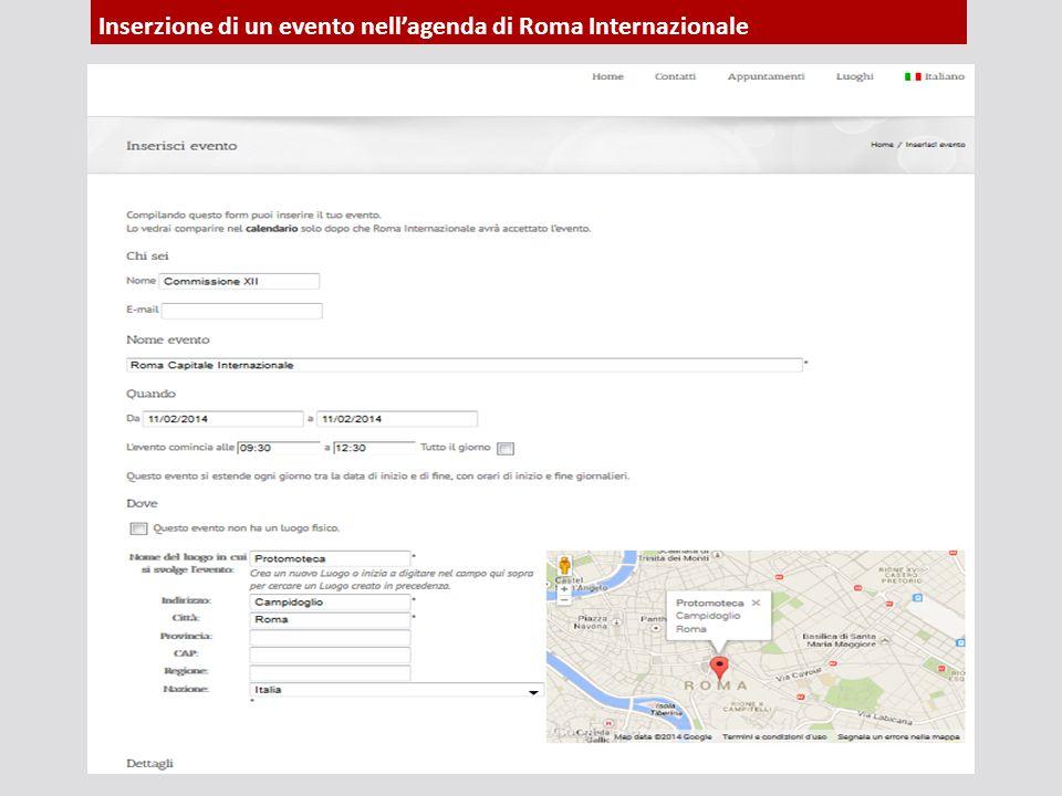 Inserzione di un evento nell'agenda di Roma Internazionale
