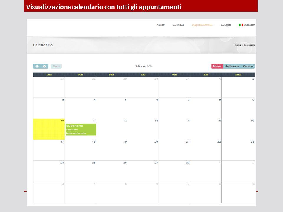 Visualizzazione calendario con tutti gli appuntamenti