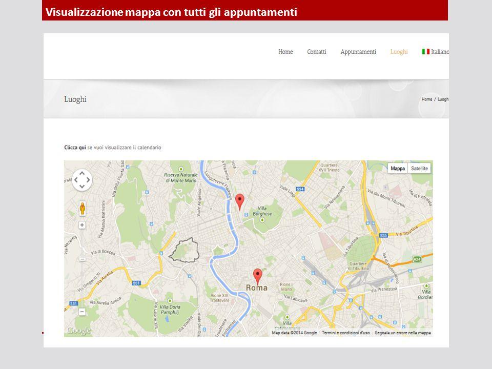 Visualizzazione mappa con tutti gli appuntamenti