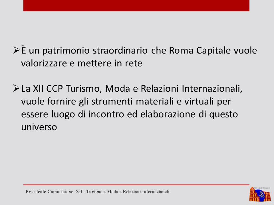  È un patrimonio straordinario che Roma Capitale vuole valorizzare e mettere in rete  La XII CCP Turismo, Moda e Relazioni Internazionali, vuole fornire gli strumenti materiali e virtuali per essere luogo di incontro ed elaborazione di questo universo Presidente Commissione XII - Turismo e Moda e Relazioni Internazionali