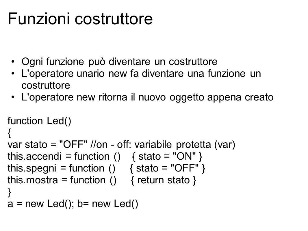 Funzioni costruttore Ogni funzione può diventare un costruttore L operatore unario new fa diventare una funzione un costruttore L operatore new ritorna il nuovo oggetto appena creato function Led() { var stato = OFF //on - off: variabile protetta (var) this.accendi = function () { stato = ON } this.spegni = function () { stato = OFF } this.mostra = function () { return stato } } a = new Led(); b= new Led()