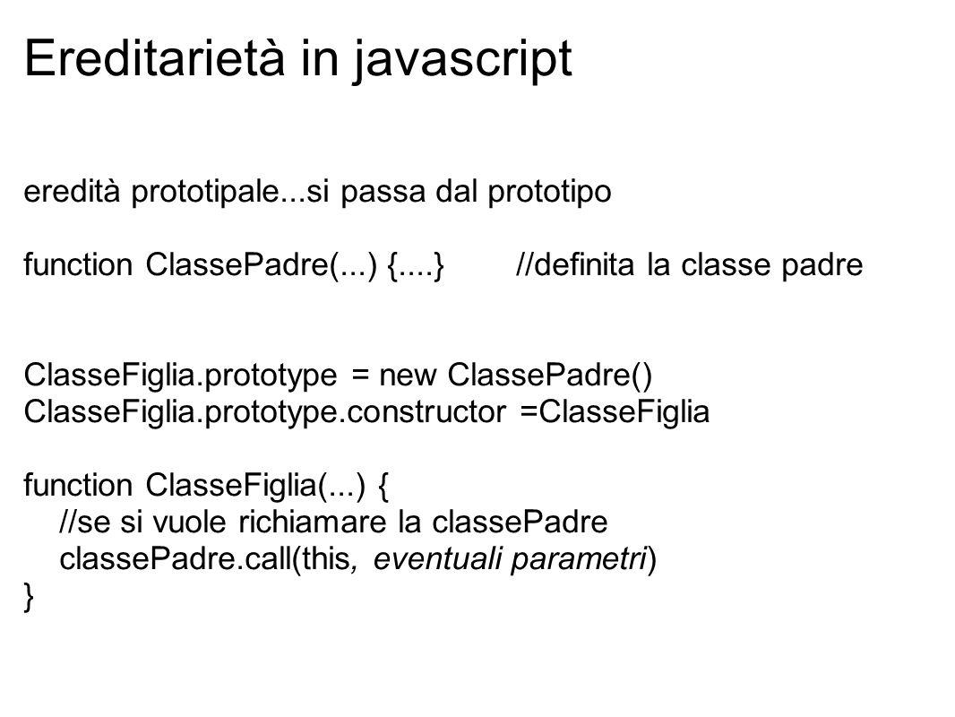 Ereditarietà in javascript eredità prototipale...si passa dal prototipo function ClassePadre(...) {....} //definita la classe padre ClasseFiglia.proto