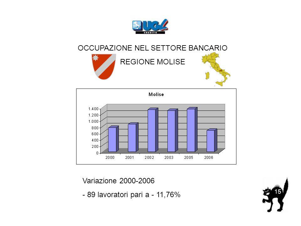OCCUPAZIONE NEL SETTORE BANCARIO REGIONE MOLISE Variazione 2000-2006 - 89 lavoratori pari a - 11,76% 15