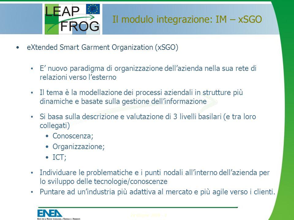 24 Giugno 2009 - 2 Il modulo integrazione: IM – xSGO eXtended Smart Garment Organization (xSGO) E' nuovo paradigma di organizzazione dell'azienda nella sua rete di relazioni verso l'esterno Il tema è la modellazione dei processi aziendali in strutture più dinamiche e basate sulla gestione dell'informazione Si basa sulla descrizione e valutazione di 3 livelli basilari (e tra loro collegati) Conoscenza; Organizzazione; ICT; Individuare le problematiche e i punti nodali all'interno dell'azienda per lo sviluppo delle tecnologie/conoscenze Puntare ad un'industria più adattiva al mercato e più agile verso i clienti.