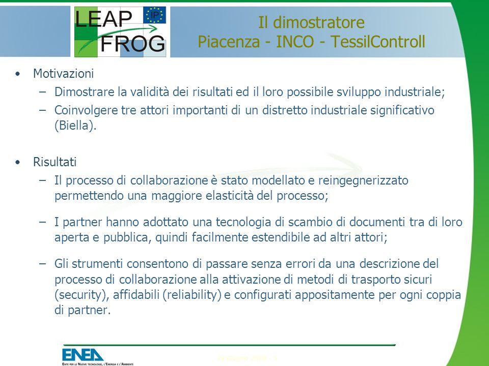 24 Giugno 2009 - 5 Il dimostratore Piacenza - INCO - TessilControll Motivazioni –Dimostrare la validità dei risultati ed il loro possibile sviluppo industriale; –Coinvolgere tre attori importanti di un distretto industriale significativo (Biella).