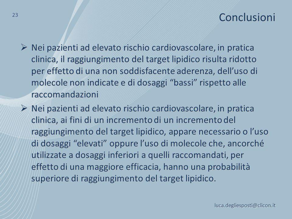  Nei pazienti ad elevato rischio cardiovascolare, in pratica clinica, il raggiungimento del target lipidico risulta ridotto per effetto di una non so