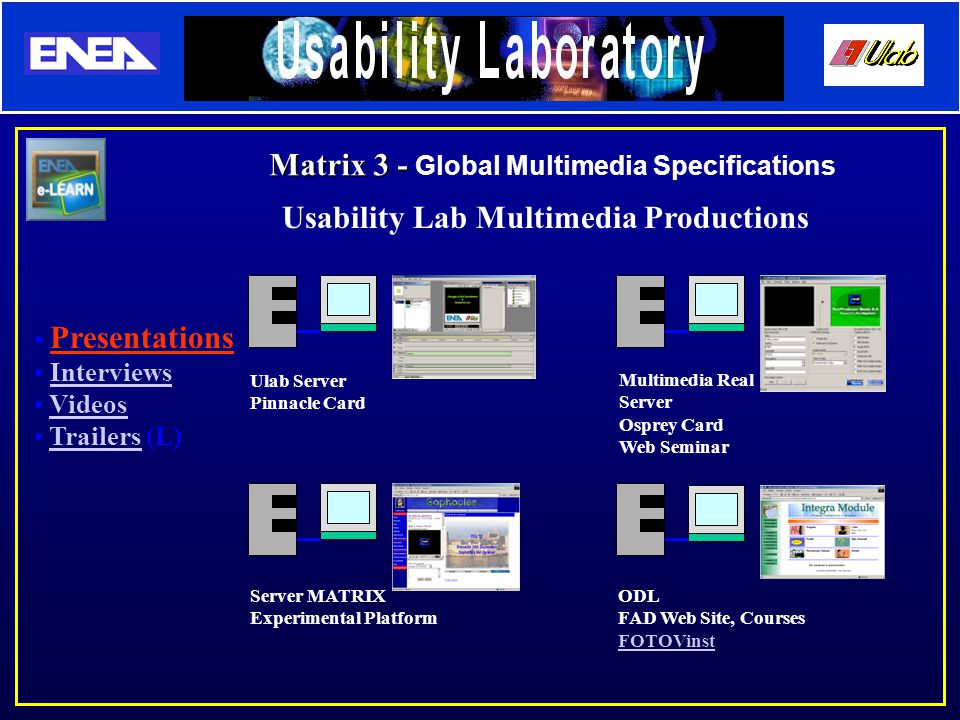 Usability Lab Multimedia Productions Presentations Interviews Videos Trailers (L)Trailers Ulab Server Pinnacle Card Multimedia Real Server Osprey Card Web Seminar Server MATRIX Experimental Platform ODL FAD Web Site, Courses FOTOVinst Matrix 3 - Matrix 3 - Global Multimedia Specifications