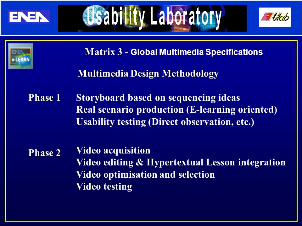 Multimedia Design Methodology Phase 1 Phase 2 Storyboard based on sequencing ideas Real scenario production (E-learning oriented) Usability testing (Direct observation, etc.) Video acquisition Video editing & Hypertextual Lesson integration Video optimisation and selection Video testing Matrix 3 - Matrix 3 - Global Multimedia Specifications