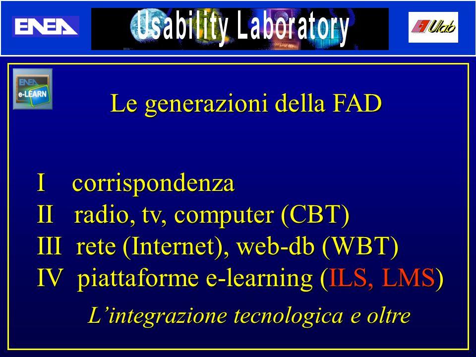 Le generazioni della FAD I corrispondenza II radio, tv, computer (CBT) III rete (Internet), web-db (WBT) IV piattaforme e-learning (ILS, LMS) L'integrazione tecnologica e oltre