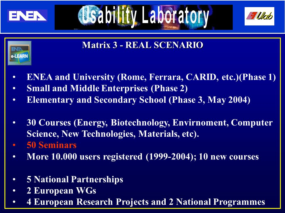 Matrix 3 - REAL SCENARIO ENEA and University (Rome, Ferrara, CARID, etc.)(Phase 1) Small and Middle Enterprises (Phase 2) Elementary and Secondary School (Phase 3, May 2004) 30 Courses (Energy, Biotechnology, Envirnoment, Computer Science, New Technologies, Materials, etc).