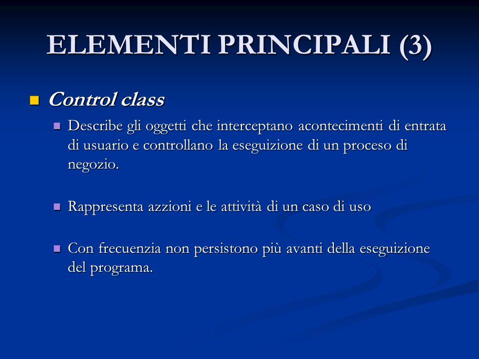 ELEMENTI PRINCIPALI (3) Control class Control class Describe gli oggetti che interceptano acontecimenti di entrata di usuario e controllano la eseguiz