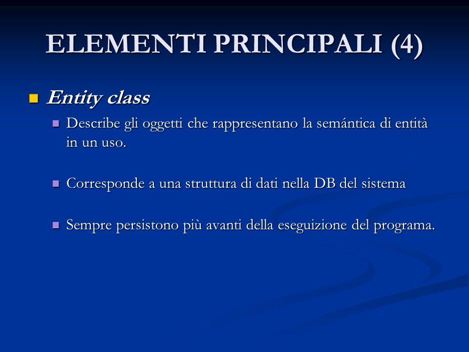 ELEMENTI PRINCIPALI (4) Entity class Entity class Describe gli oggetti che rappresentano la semántica di entità in un uso.