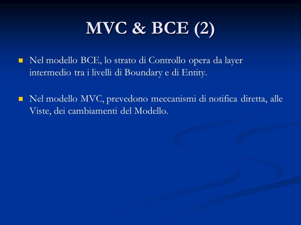 MVC & BCE (2) Nel modello BCE, lo strato di Controllo opera da layer intermedio tra i livelli di Boundary e di Entity. Nel modello MVC, prevedono mecc