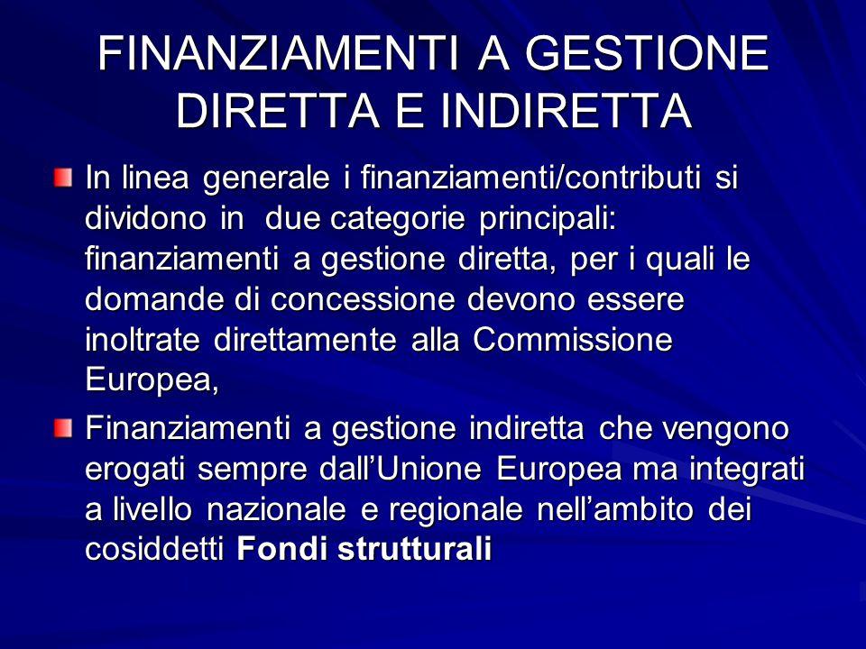 FINANZIAMENTI A GESTIONE DIRETTA E INDIRETTA In linea generale i finanziamenti/contributi si dividono in due categorie principali: finanziamenti a ges