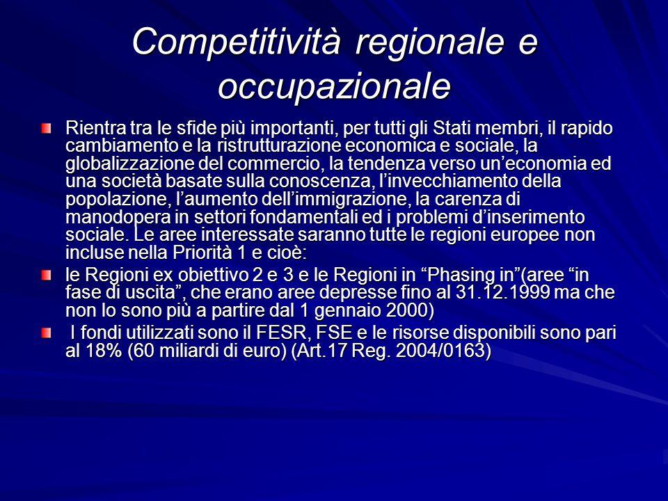 Competitività regionale e occupazionale Rientra tra le sfide più importanti, per tutti gli Stati membri, il rapido cambiamento e la ristrutturazione e