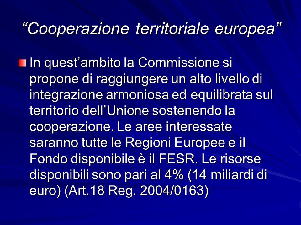 """""""Cooperazione territoriale europea"""" In quest'ambito la Commissione si propone di raggiungere un alto livello di integrazione armoniosa ed equilibrata"""