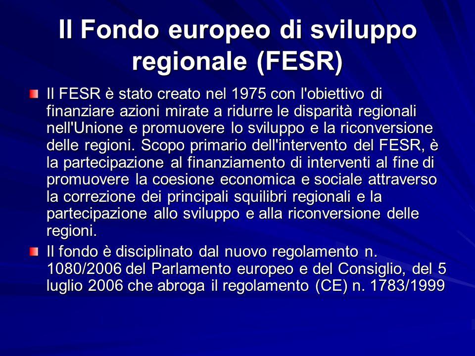 Il Fondo europeo di sviluppo regionale (FESR) Il FESR è stato creato nel 1975 con l'obiettivo di finanziare azioni mirate a ridurre le disparità regio