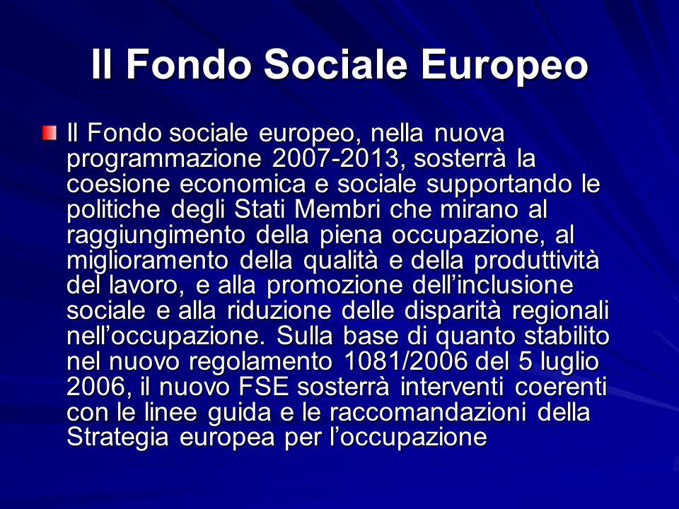 Il Fondo Sociale Europeo Il Fondo sociale europeo, nella nuova programmazione 2007-2013, sosterrà la coesione economica e sociale supportando le polit