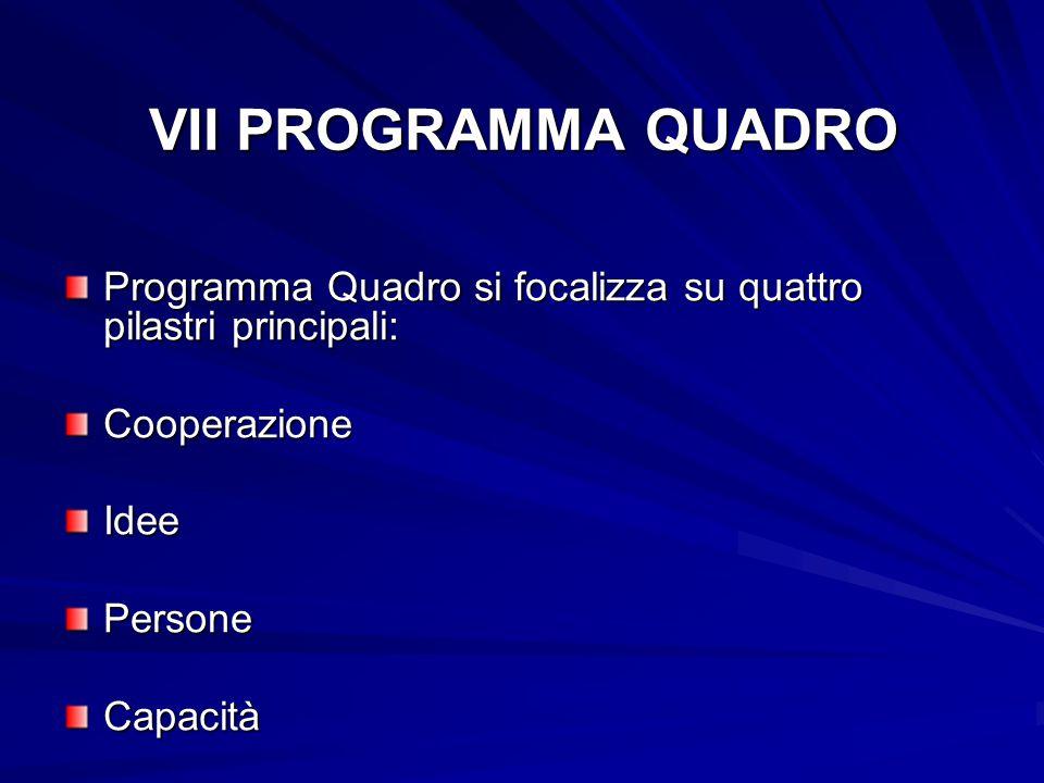 VII PROGRAMMA QUADRO Programma Quadro si focalizza su quattro pilastri principali: CooperazioneIdeePersoneCapacità