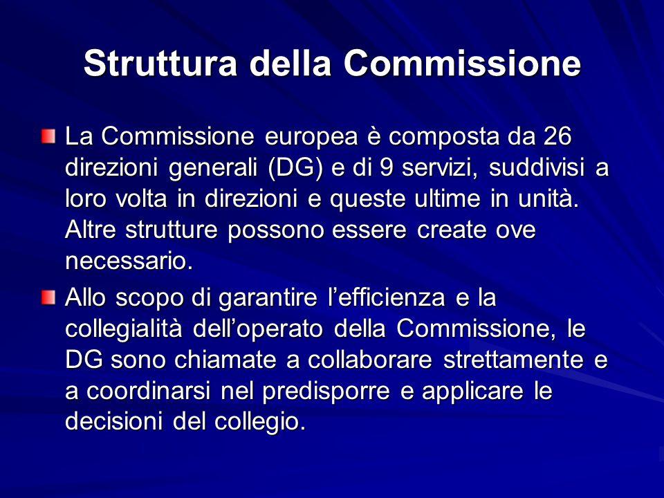 Struttura della Commissione La Commissione europea è composta da 26 direzioni generali (DG) e di 9 servizi, suddivisi a loro volta in direzioni e ques