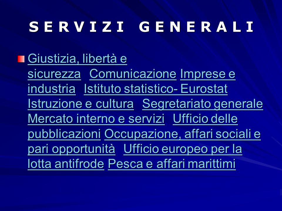S E R V I Z I G E N E R A L I Giustizia, libertà e sicurezza Giustizia, libertà e sicurezza Comunicazione Imprese e industria Istituto statistico- Eur