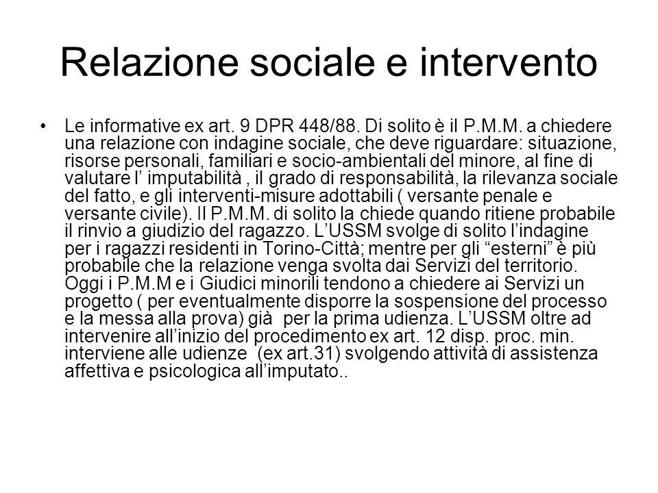 Relazione sociale e intervento Le informative ex art. 9 DPR 448/88. Di solito è il P.M.M. a chiedere una relazione con indagine sociale, che deve rigu