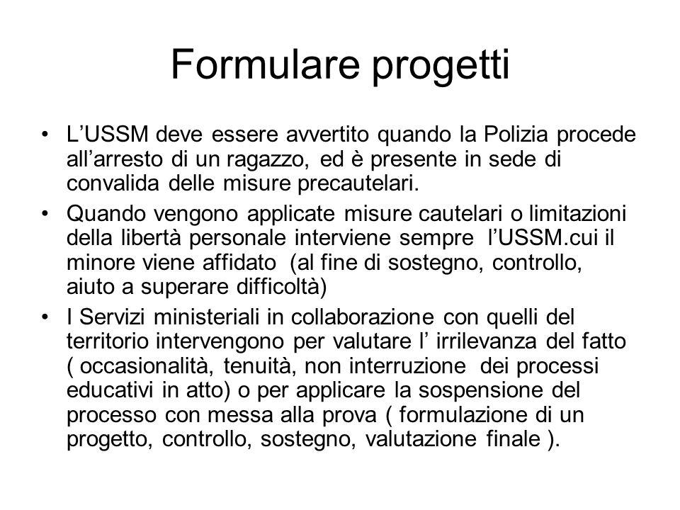 Formulare progetti L'USSM deve essere avvertito quando la Polizia procede all'arresto di un ragazzo, ed è presente in sede di convalida delle misure p