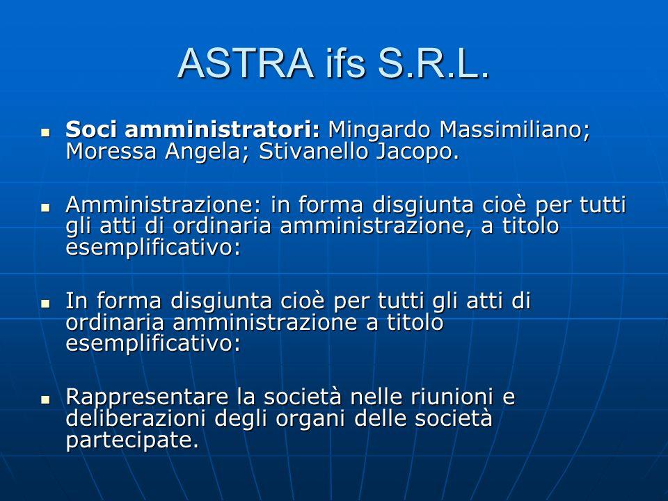 ASTRA ifs S.R.L. Soci amministratori: Mingardo Massimiliano; Moressa Angela; Stivanello Jacopo.