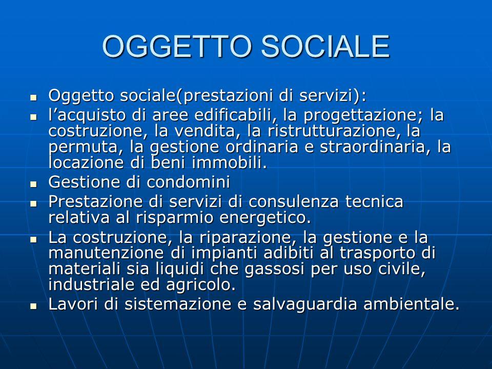 OGGETTO SOCIALE Oggetto sociale(prestazioni di servizi): Oggetto sociale(prestazioni di servizi): l'acquisto di aree edificabili, la progettazione; la costruzione, la vendita, la ristrutturazione, la permuta, la gestione ordinaria e straordinaria, la locazione di beni immobili.
