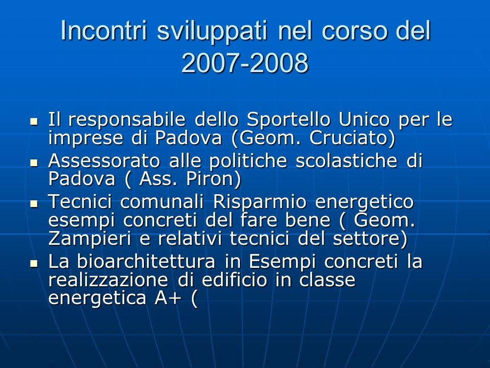 Incontri sviluppati nel corso del 2007-2008 Il responsabile dello Sportello Unico per le imprese di Padova (Geom.