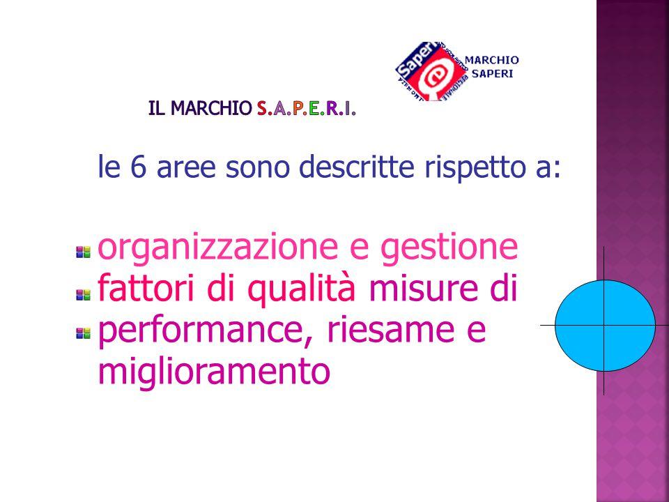 le 6 aree sono descritte rispetto a: organizzazione e gestione fattori di qualità misure di performance, riesame e miglioramento