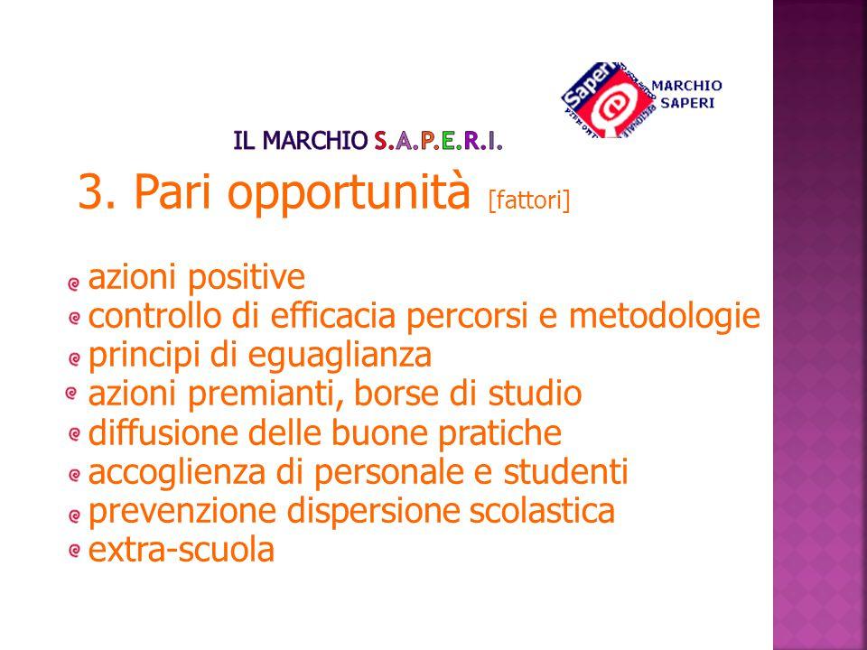 3. Pari opportunità [fattori] azioni positive controllo di efficacia percorsi e metodologie principi di eguaglianza azioni premianti, borse di studio