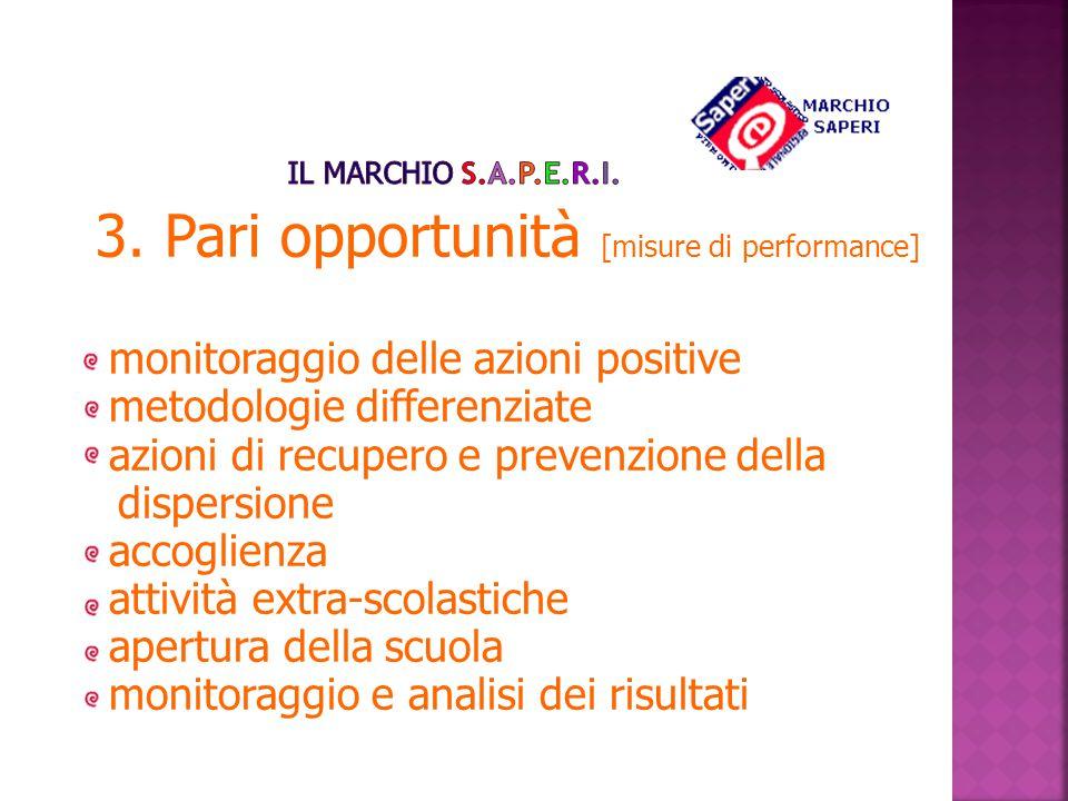 3. Pari opportunità [misure di performance] monitoraggio delle azioni positive metodologie differenziate azioni di recupero e prevenzione della disper