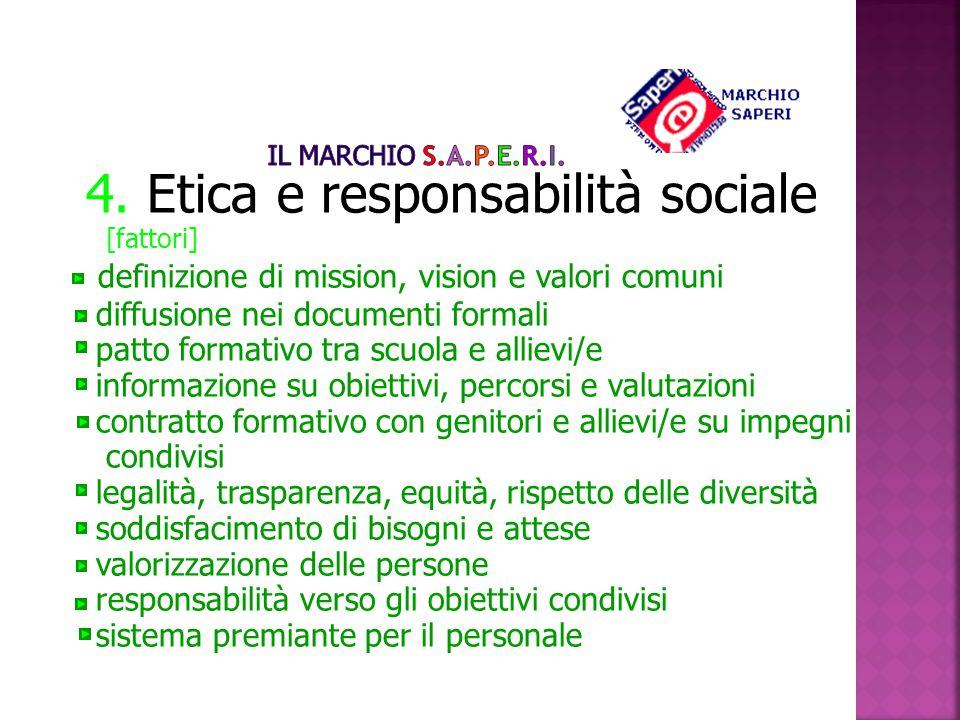 4. Etica e responsabilità sociale [fattori] definizione di mission, vision e valori comuni diffusione nei documenti formali patto formativo tra scuola